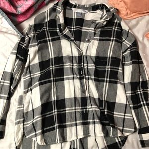 Oversized black and white flannel!